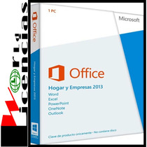Office Hogar Y Empresas 2013 Licencia Original Retail 1 Pc
