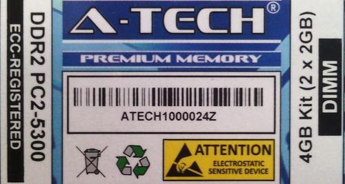 Kit Memorias Ram 4gb Ddr2 Pc2-5300 667mhz Ecc-registradas