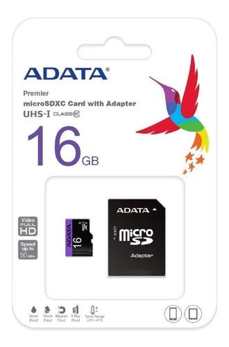 Memoria-16gb-Micro-Sd-Adata-Clase-10-Sdhc-Adaptador-Blister