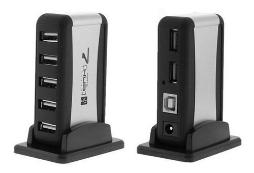 Hub-Usb-7-Puertos-Con-Cargador-De-Pared-Conector-Pc-Laptop