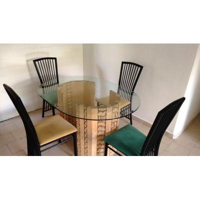 Juego mesa comedor hogar 4 sillas vidrio base piedra for Comedor vidrio 4 sillas